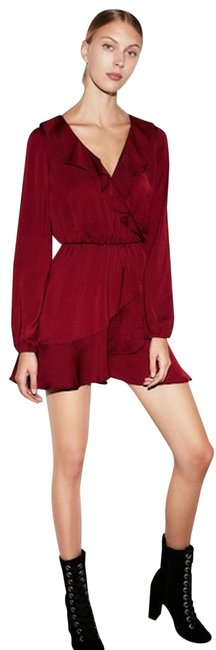 Express Red Ruffle Fit & Flare Mini Maroon Small Short Casual Dress Size 4 (S) Image 0