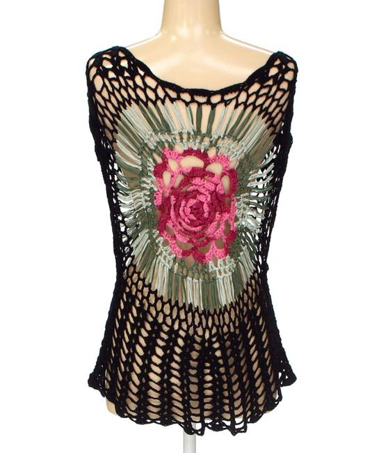 Other Knitted Crochet Floral Sleeveless Marled Top multicolored black