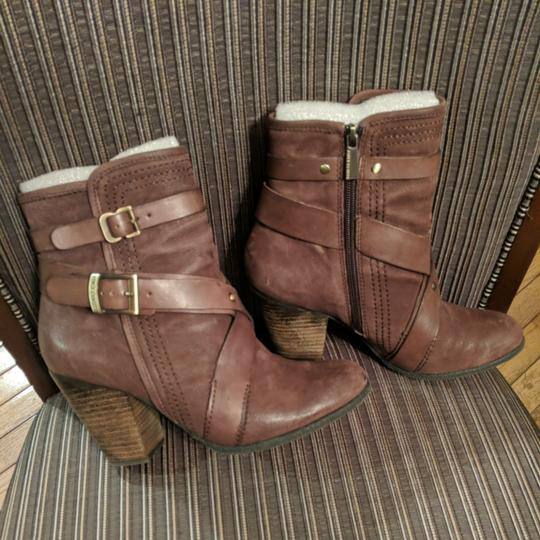 Vince Camuto Leather Gold Hardware Burley Brown Boots