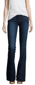 Paige Skyline Wash Midrise Boot Cut Jeans-Dark Rinse