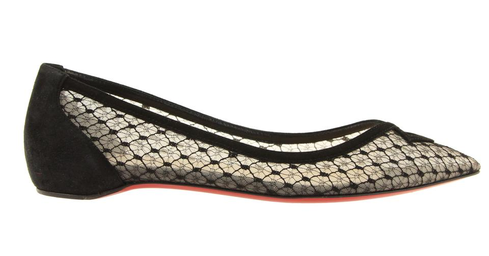 d9fe61a4dc9 Christian Louboutin Black Neoflat Suede Trim Lace Pointed Toe Skimmer Ballet  Flats