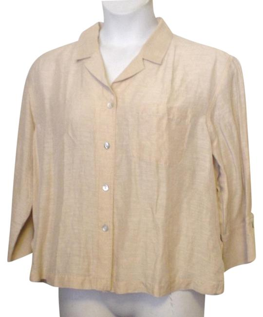 Chico's Design Sheer Shirt Front Button Down Shirt Gold