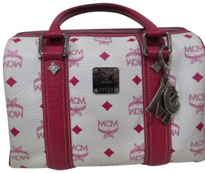 MCM Satchel in white and pink