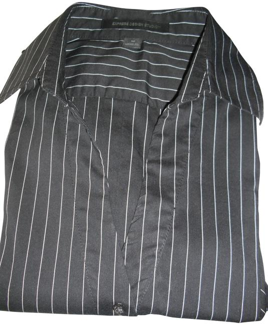 Item - Black White Ppinstripes Collar V Neck Button-down Top Size 10 (M)