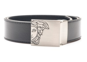 Versace Collection Versace Collection Men's Black Leather Buckle Decorated Belt Size 32