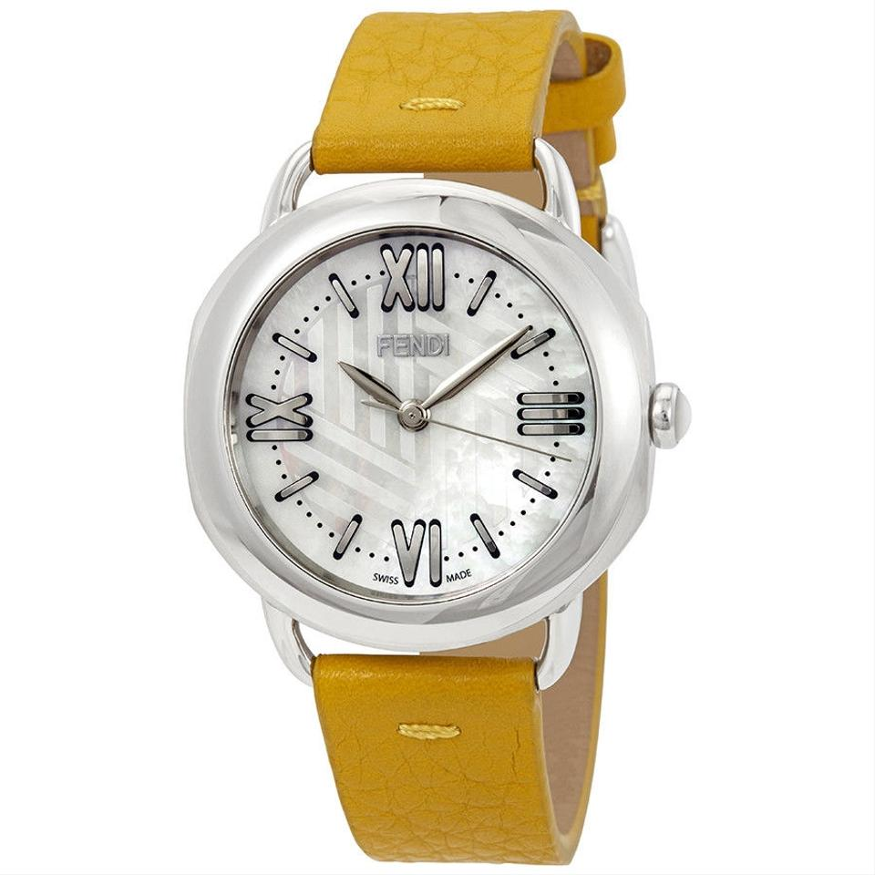 86889476 Fendi Selleria White Mother Of Pearl Dial Ladies Yellow Leather Watch