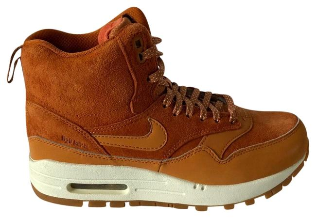 Nike Tawny / Med Brown Women's Air Max 1 Suede and Leather Sneakerboot Sneakers Size US 6.5 Regular (M, B) Image 1