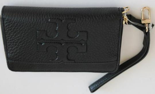 Tory Burch bombe leather wristlet in brown