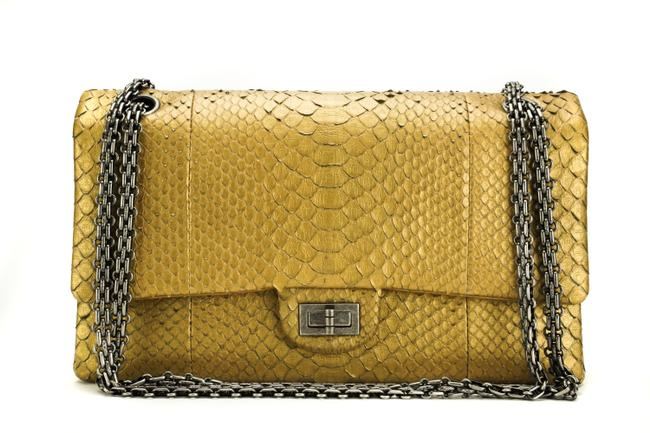 Chanel 2.55 Reissue Medium Metallic 266 Gold Python Skin Leather Cross Body Bag Chanel 2.55 Reissue Medium Metallic 266 Gold Python Skin Leather Cross Body Bag Image 1