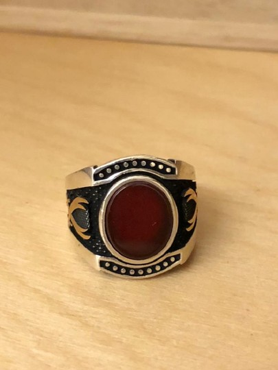 Silver Style Red Agate Sword Motif Silver Men's Ring Image 1