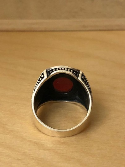 Silver Style Red Agate Sword Motif Silver Men's Ring Image 2