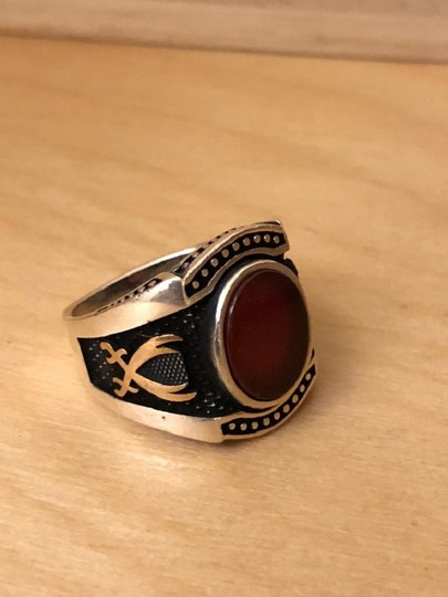 Silver Style Red Agate Sword Motif Silver Men's Ring Image 4