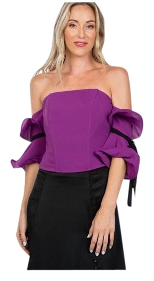 b2650b516d2f Lulumari Purple and Black Adorable Wired Ruffle Off The Shoulder Blouse