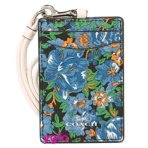 Coach Coach Blue Floral Id Card Lanyard Leather Tag Employee Badge Holder