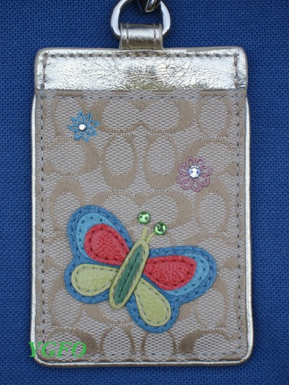 Coach Coach Butterfly Signature Id Card Lanyard Tag Employee Badge Holder Image 2