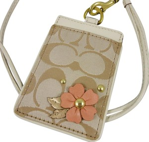 Coach Coach Floral Signature Id Card Lanyard Tag Employee Badge Holder
