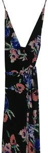 Black with blue and pink flower print Maxi Dress by Yumi Kim