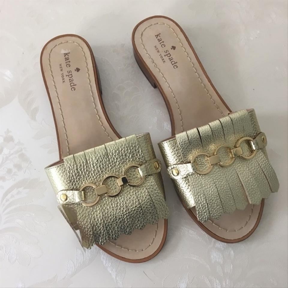 03916cf4fa3f Kate Spade Gold Brie Slides Sandals Size US 7.5 Regular (M