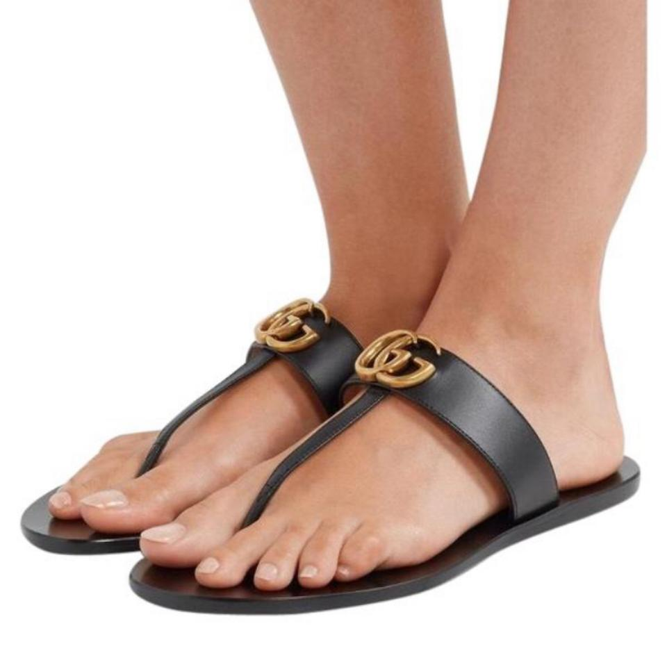 466b72ee8545f8 Gucci Marmont Leather Sandals Size US 10.5 Regular (M