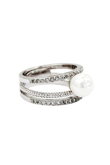 Ocean Fashion Fashion loop small crystal and peal silver ring Image 2