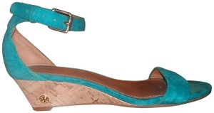 e6dc58bfdc7b Tory Burch Suede Wedge Ankle Strap Turquoise Sandals