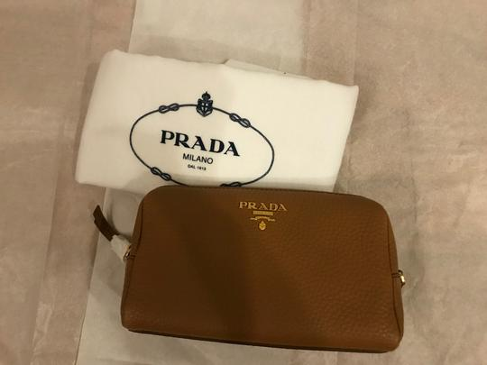 Prada Wallet Cosmetic Pouch Saffiano SAND Clutch Image 1