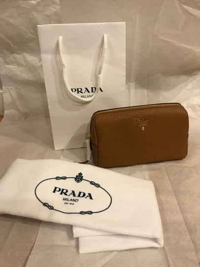 Prada Wallet Cosmetic Pouch Saffiano SAND Clutch Image 2