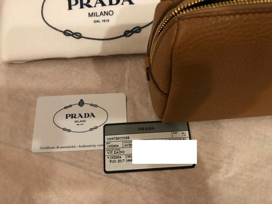 Prada Wallet Cosmetic Pouch Saffiano SAND Clutch Image 6