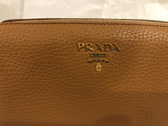 Prada Wallet Cosmetic Pouch Saffiano SAND Clutch Image 7