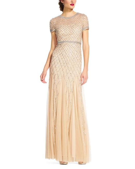 Item - Champagne Cap Sleeve Beaded Mesh Gown Long Formal Dress Size 14 (L)