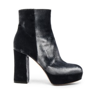 Gianvito Rossi Midcalf Velvet Platform Stiletto Ankle grey Boots