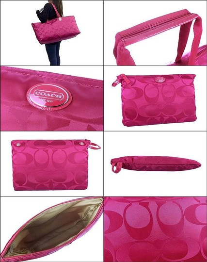 Coach Packable Tote Nylon Pink Berry/Fuchsia Travel Bag Image 1