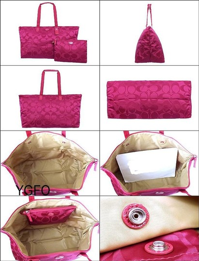 Coach Packable Tote Nylon Pink Berry/Fuchsia Travel Bag Image 2