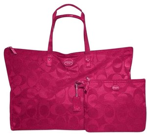Coach Packable Tote Nylon Pink Berry/Fuchsia Travel Bag