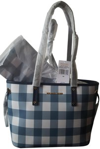 MICHAEL Michael Kors Plaid Tote in Denim