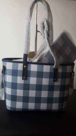 MICHAEL Michael Kors Plaid Tote in Denim Image 1