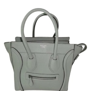 "Céline Tote in light grey, ""Lune"", off-white, with silver hardware and deep brown/black suede interior"