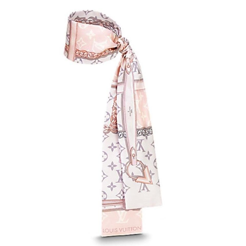 d7bf312309727 Louis Vuitton Pink Monogram Confidential Silk Bandeau Scarf Wrap ...