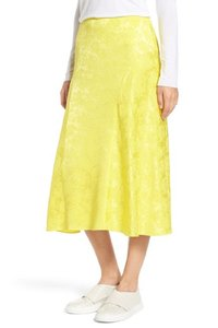 Lewit Silk Floral Jacquard Skirt Yellow