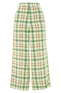 Topshop Silk Checked Trouser Pants White and Green
