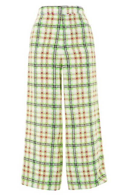 Topshop Silk Checked Trouser Pants White and Green Image 5