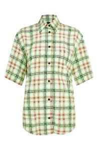 Topshop Silk Checked Shirt Top White and Green