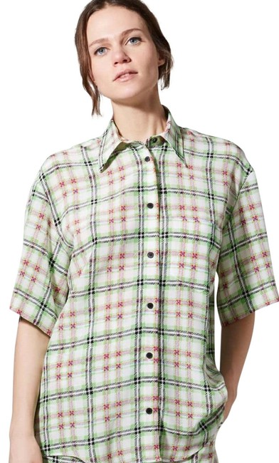 Topshop Silk Checked Shirt Top White and Green Image 4