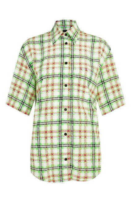 Topshop Silk Checked Shirt Top White and Green Image 5