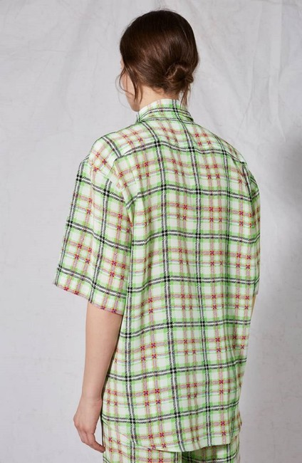 Topshop Silk Checked Shirt Top White and Green Image 6