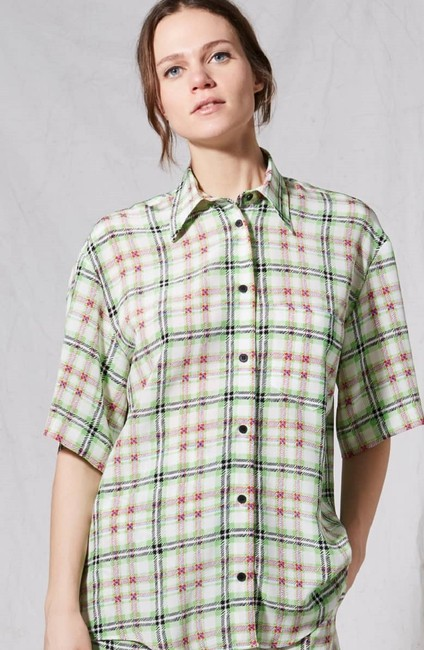 Topshop Silk Checked Shirt Top White and Green Image 7