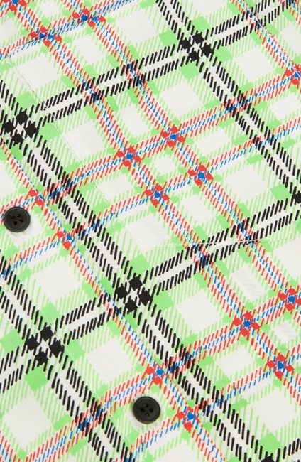 Topshop Silk Checked Top White and Green Image 2