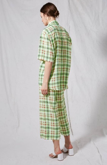 Topshop Silk Checked Top White and Green Image 5