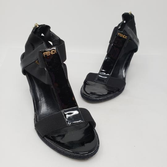 cea43c44e448 ... Fendi Patent Leather Gold Hardware Silver Hardware Zucca Ankle Strap Black  Sandals
