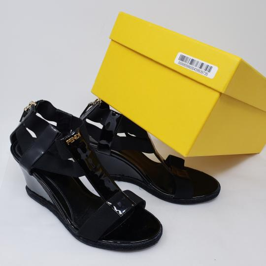 5b8a478b010f Fendi Patent Leather Gold Hardware Silver Hardware Zucca Ankle Strap Black  Sandals